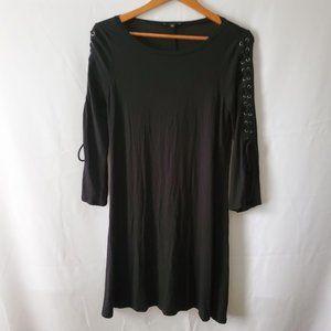 Express Women's Black Lace-Up Sleeve Shirt Dress